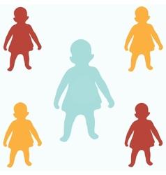 Colored children silhouettes vector