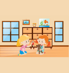 Cute girls playing with dolls vector