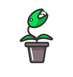 Dangerous plant with sharp teeth in clay pot vector