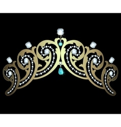 Diadem with diamonds and aquamarines vector image