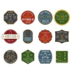 Fitness vintage labels set vector