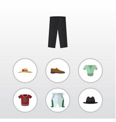 Flat clothes set of t-shirt male footware pants vector
