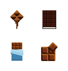 Flat icon chocolate set of dessert cocoa bitter vector