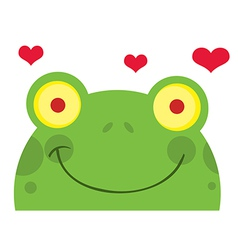 Green Frog With Hearts vector image