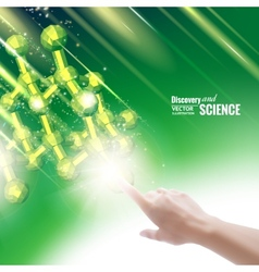 Hand touching chemical molecule vector image vector image