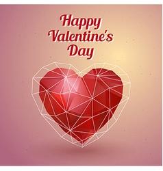 Happy Valentines Day card Polygonal heart vector image vector image