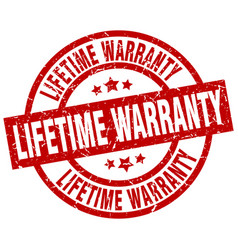 Lifetime warranty round red grunge stamp vector