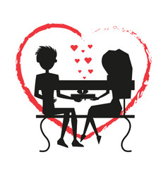 man and woman love silhouette vector image
