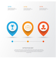 Management icons set collection of briefcase vector