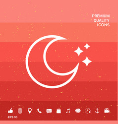 Moon stars line icon vector