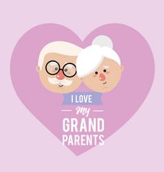 Nice grandparents head with celebration design vector