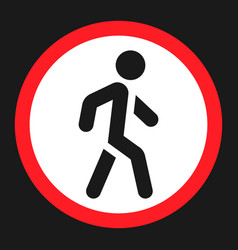No pedestrians sign flat icon vector