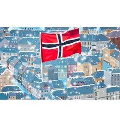 Norway traditional city with flag vector