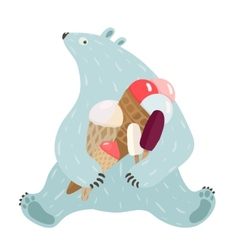 Polar bear and ice cream vector