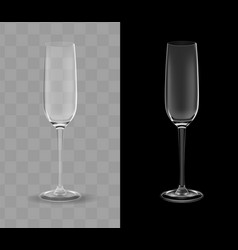 realistic champagne glasses transparent vector image vector image