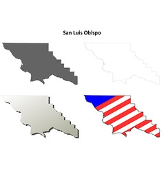 San luis obispo county california outline map set vector
