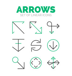 Set of arrow icons flat minimal linear thin style vector