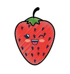 Strawberry cartoon smiley fruit vector