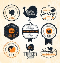 Thanksgiving Day Design Elements in Vintage Style vector image