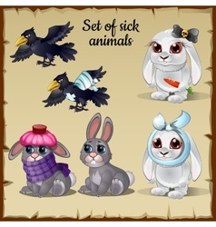 Three poor sick and healthy animals vector image vector image