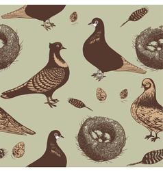 Vintage pigeons pattern vector