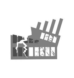 War broken building cracks and splinters of vector