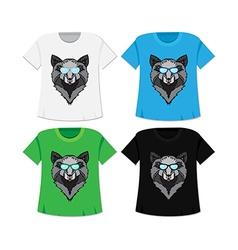 Wild wolf t-shirt vector