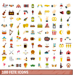100 fete icons set flat style vector