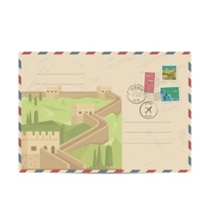 Vintage postal envelope with china stamps vector
