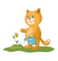 Cat watering a flower vector