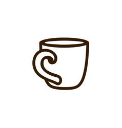 Cup of coffee tea with line icon black on white vector