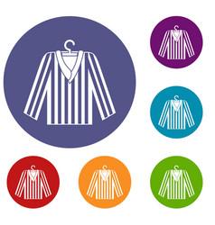 Striped pajama shirt icons set vector