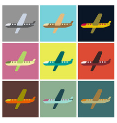set of icons in flat design aircraft vector image