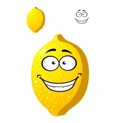 Happy smiling yellow cartoon lemon fruit vector