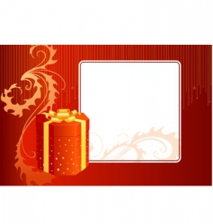 Gift box and card vector