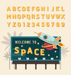 Vintage space rocket billboard sign vintage vector