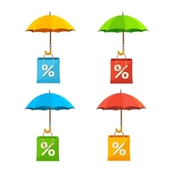 Umbrella with paper bag sale labels set vector