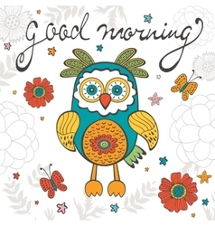 Good morning concept card with cute owl character vector
