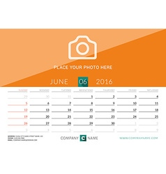 Desk calendar 2016 print template june week starts vector