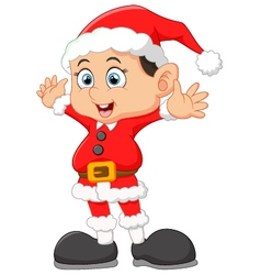 Kid waving wearing santa costume vector