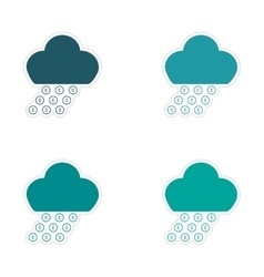 Stylish assembly sticker on paper rain cloud coins vector