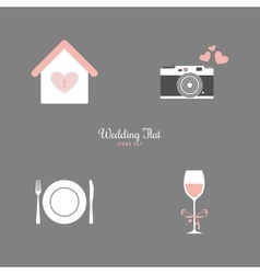Cute wedding objects vector