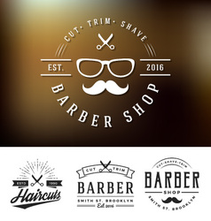 Set of barber shop logo and decorative vector