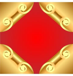 background with corners curl of gold vector image