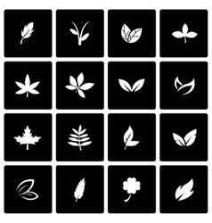 Black leaf icon set vector