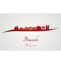 Brussels skyline in red vector