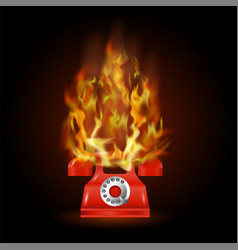 burning red phone with fire flame vector image vector image