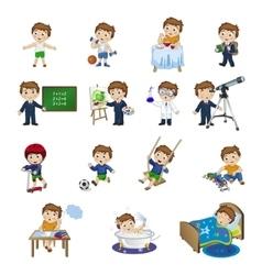Cartoon boys daily activities vector