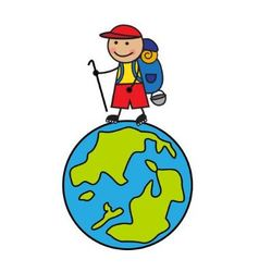 Cartoon tourist with a backpack going up the globe vector