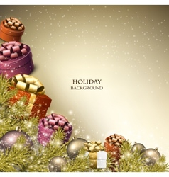 Christmas background with gifts Xmas boxes with vector image